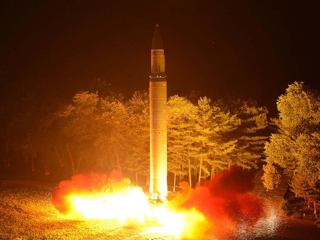 North Korea test-launches an intercontinental ballistic missile, the Hwasong-14, in July. Picture: Korean Central News Agency/AFP