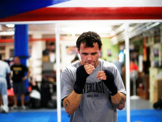 Daniel Geale works on his technique before the Golovkin bout at Madison Square Garden. Picture: Adam Taylor