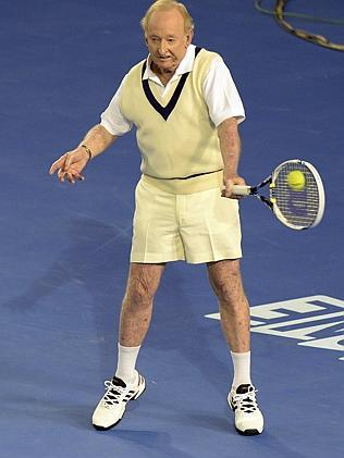Former Australian tennis great Rod Laver was happy to have a hit with Federer. Picture: AP Photo/Mal Fairclough