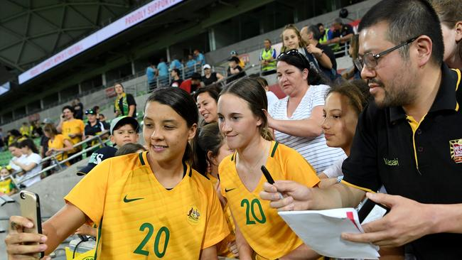 Sam Kerr was a fan favourite after her heroics against China.