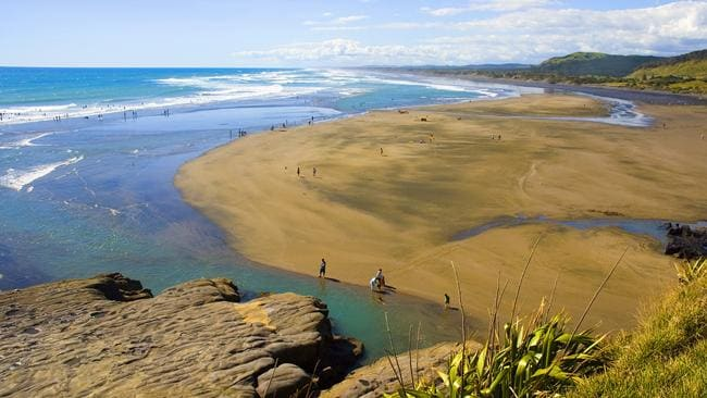 Muriwa Beach, north of Auckland, New Zealand, where a 47-year-old man has been killed by a Great White Shark. Picture: Wikipedia