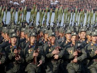 "In this Saturday, Oct. 10, 2015, file photo, North Korean soldiers in historic uniforms march during a parade on the Kim Il Sung Square in Pyongyang, North Korea. With tensions high and the United States and South Korea preparing to hold their massive annual wargames, Pyongyang is warning it will respond to any violations of its territory with ""merciless"" retaliation, including strikes on Seoul and the U.S. mainland itself. (AP Photo/Wong Maye-E, File)"