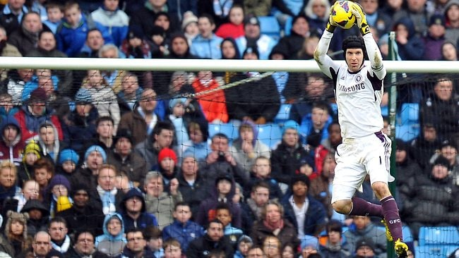 Chelsea goalkeeper Petr Cech catches the ball during the English Premier League match against Manchester City at the Etihad Stadium. Picture: Paul Ellis
