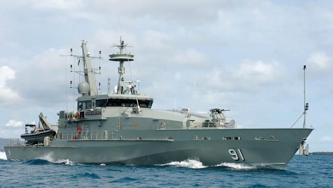 The HMAS Bundaberg at sea. She was destroyed in a fire while in dry-dock yesterday. Picture: Supplied