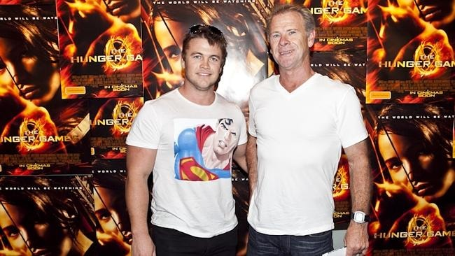 Luke Hemsworth with dad Craig at the Melbourne premiere of The Hunger Games. Picture: Anthony Licuria/ APL Photography