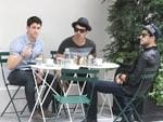 <p>Lunch with the lads ... The Jonas Brothers enjoy a spot of lunch together while out in New York City. Picture: Snappermedia</p>