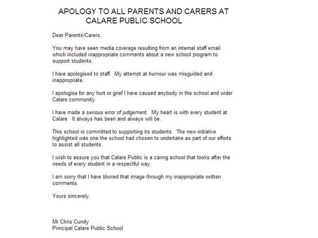 Mental health days are for morons says Calare Public School – Apology Letter to School