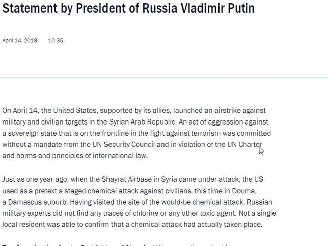 Part of a statement by Russian President Vladimir Putin in response to military strikes.