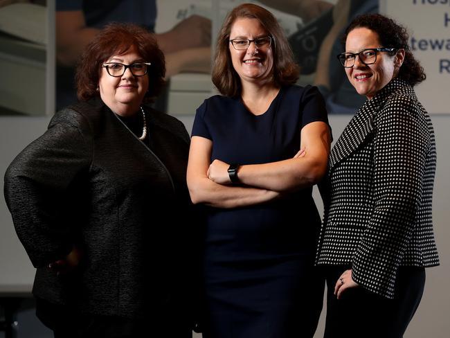Calvary Health Care chief executives Sharon Kendall, Juanita Ielasi and Emma Poland. Picture: Calum Robertson