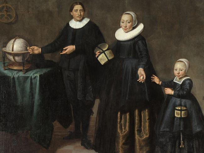 Portrait of explorer Abel Tasman with his wife Jannetjie Tjaers and daughter, circa 1637, by Jacob Gerritz Cuyp. Picture: National Library of Australia.