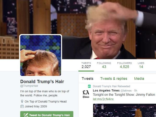 Trump's hair even has it's own Twitter account.