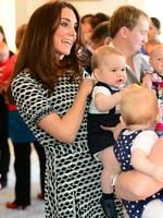 <p>It's not every mother that can cause her frock to sell out within hours of a playdate with her son ... Catherine, Duchess of Cambridge wears a Tory Burch dress at a partents group in Wellington. The $450 dress was sold out within hours. Picture: Getty</p>
