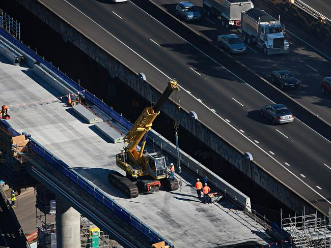 The M4 widening under construction in 2016. Picture: Adam Yip