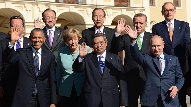 Bob Carr (top right) with other world leaders during the G20 summit in Saint Petersburg on September 6, 2013. Picture: AFP