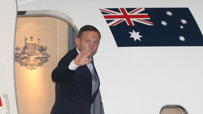 Tony Abbott departs Canberra for the UN Security in New York. Pic: Gary Ramage