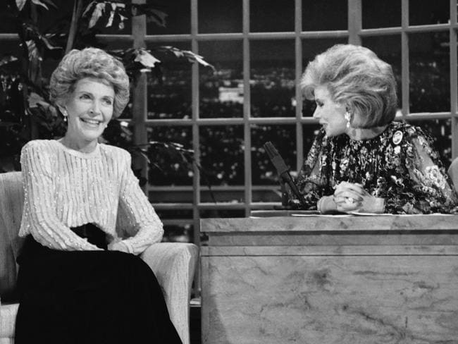 "Joan Rivers talks with Nancy Reagen in 1986 on ""The Late Show Starring Joan Rivers,"" in Los Angeles."