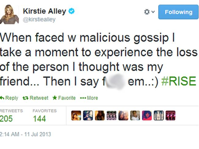 Alley later denied her Twitter outburst was directed at Remini.