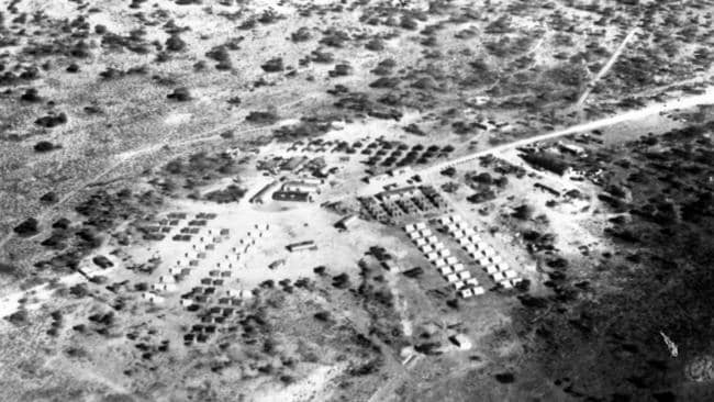 Aerial image of the Woomera A-bomb site in October, 1953.