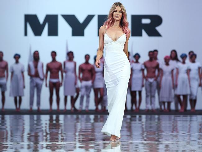 Jennifer Hawkins walks during the finale during the Myer Spring Summer 2014 Fashion Launch at Carriageworks on August 7, 2014 in Sydney, Australia. Photo by Brendon Thorne