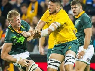 Pieter-Steph Du Toit for the Sprinkboks and Adam Coleman of the Wallabies during the Rugby Championship match between the Australian Wallabies and the South African Springboks at NIB Stadium in Perth, Saturday, September 9, 2017. (AAP Image/Tony McDonough) NO ARCHIVING, EDITORIAL USE ONLY