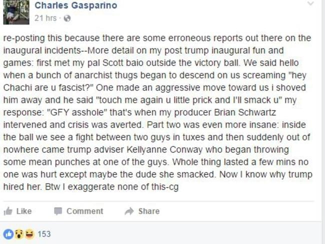 Fox Business Network correspondent Charlie Gasparino claims to have witnessed the alleged punch-up. Picture: Facebook/Charles Gasparino