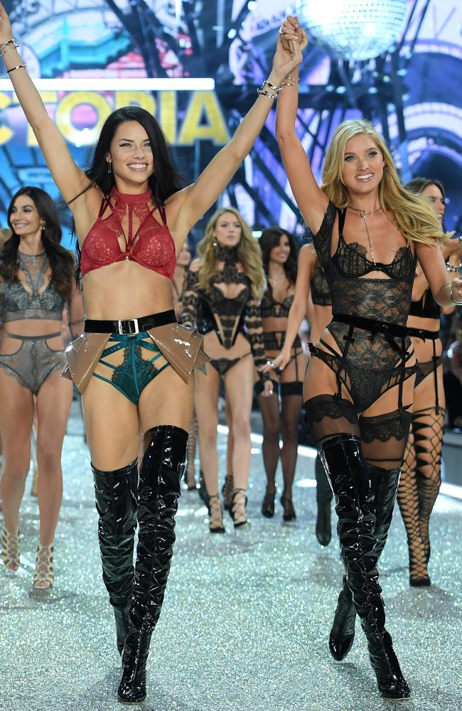 Adriana Lima and Elsa Hosk led the showstopping finale in matching knee-high boots. Picture: Getty Images.