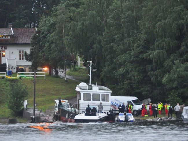police and emergency services gather following a massacre at a summer youth camp on July 22, 2011 on Utoya Island, Norway. Picture: Getty
