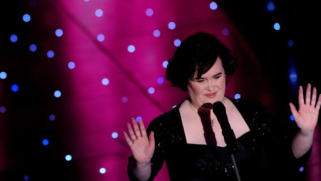 British singer Susan Boyle performs on the stage during the 60th Italian Music Festival at the Ariston Theatre in Sanremo 16/02/2010.