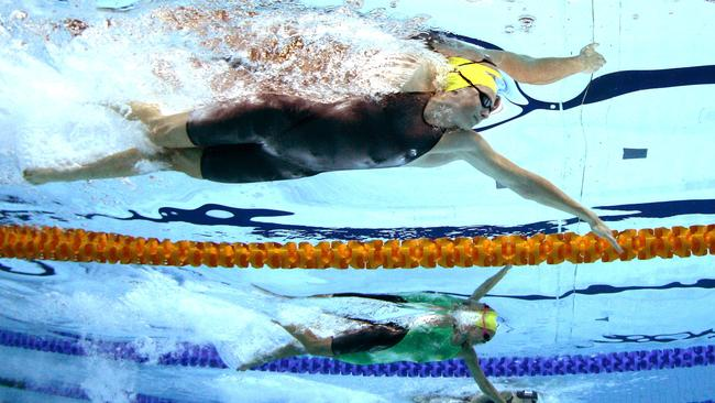 Little separates the Campbell sisters in the 100m freestyle final.