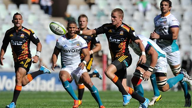 Gareth Anscombe chases the ball during the Chiefs' clash with the Cheetahs in Bloemfontein.
