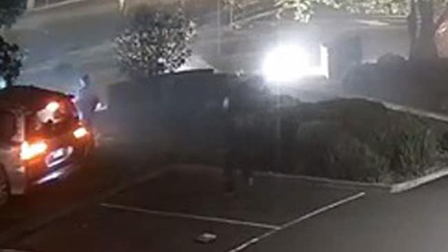 CCTV shows a man running towards the Lexus, as a teen gets out and runs from the car. Picture: Supplied