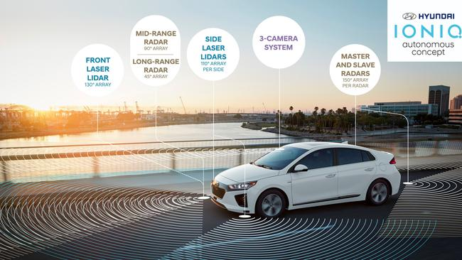 The Ioniq test car is loaded with radars and cameras. Pic: Supplied.