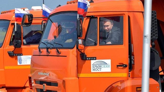 Opening of Crimea Bridge by Vladimir Putin. Russia Today and Russian Embassy.