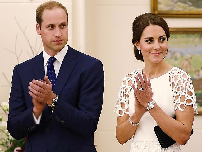 Reluctantly leaving ... Catherine, the Duchess of Cambridge and Prince William at Government House in Canberra last night.