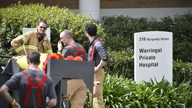 Fire crews attend a diesel spill at Warringal Private Hospital. Picture: Jason Edwards