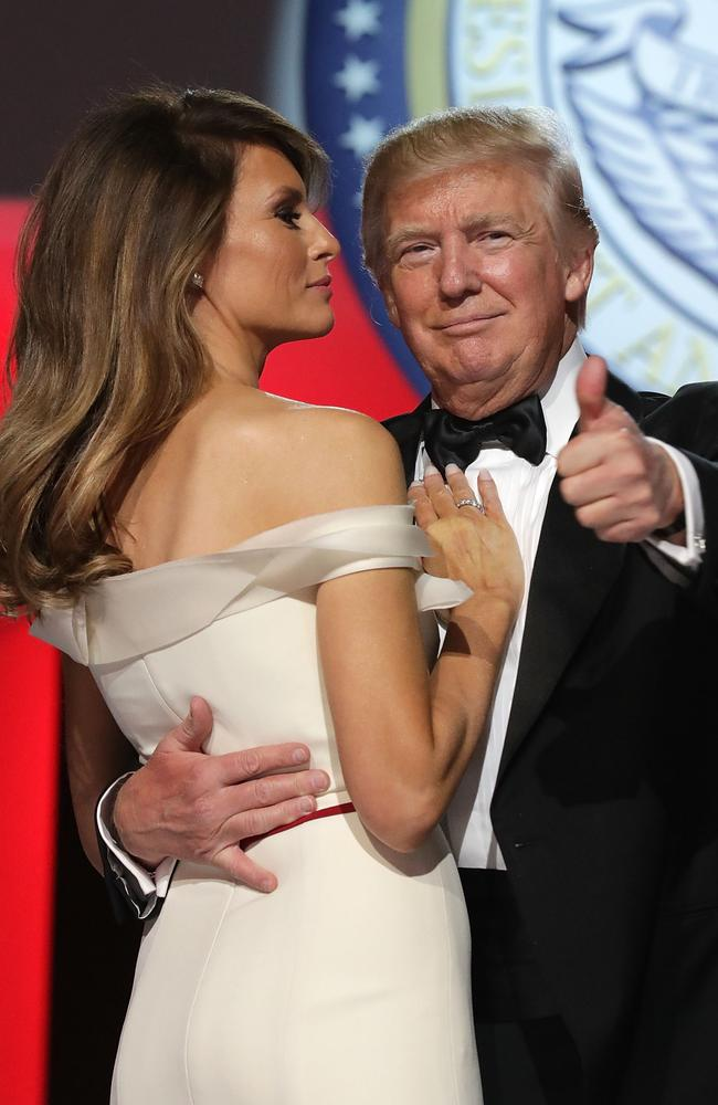The US President and first lady Melania Trump dance during the Freedom Ball at the Washington Convention Center.