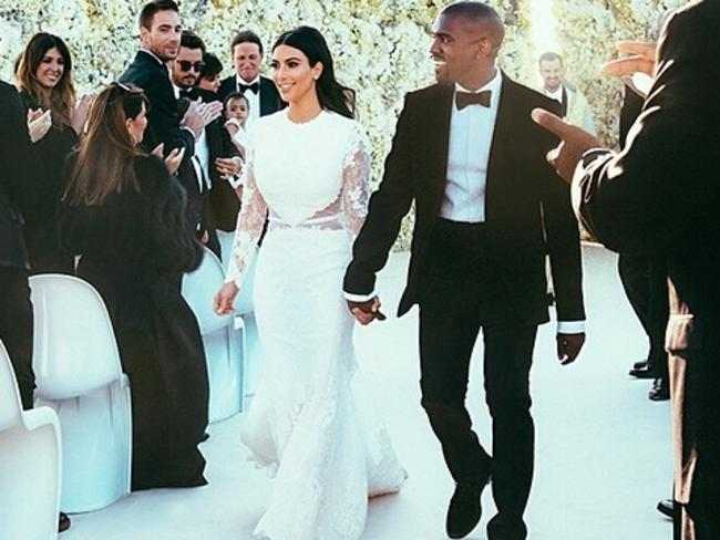 No show ... Kanye West said photographer Annie Liebovitz pulled out of his wedding to Kim Kardashian at the last minute. Picture: Instagram/Kim Kardashian