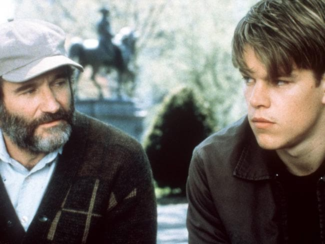 "Robin Williams and Matt Damon in 1998 film ""Good Will Hunting"". Picture: Supplied"