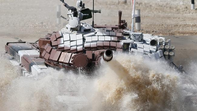 Mongolia's controversial Lego tank doesn't seem to be doing too well. EPA/YURI KOCHETKOV