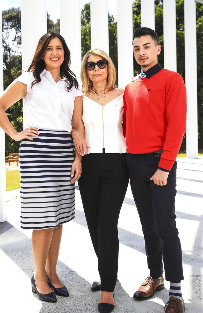 Carla Zampatti with Westpac employees Renee Jago and Josh Ambita for unveiling of the new Westpac collection at The Calyx, Royal Botanic Gardens. Picture: Dylan Robinson
