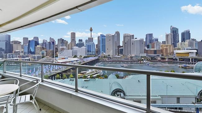The view was the biggest selling point for this two-bedroom apartment at 703/50 Murray St, Pyrmont, which sold for $1.12 million.
