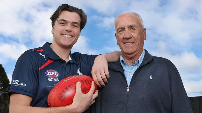 Draft hopeful Toby Wooller and his grandfather Fred Wooller, who captained Geelong's 1963 premiership. Picture: David Crosling