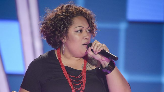 The Voice Australia contestant Lyric McFarland performs Shy Guy during her blind audition. Picture: Channel Nine