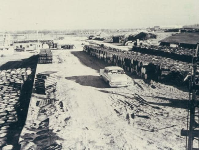 1946: Barrels of waste are dumped on 21.7-acres of land to store residues from uranium processing at the Mallinckrodt facility in St. Louis. Picture: U.S. Army Corps of Engineers
