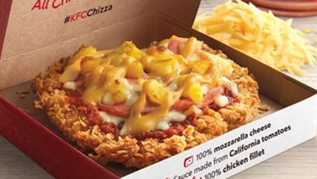 "Next-level fast food. KFC has ruled out bringing the ""chizza"" to Australia. Picture: KFC"