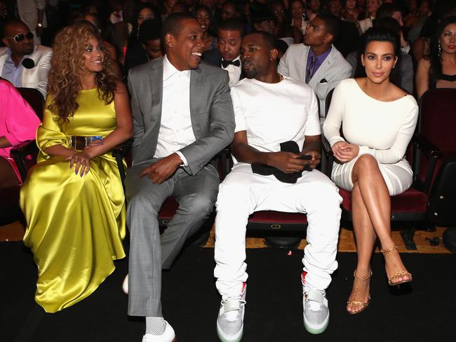 Beyonce, Jay-Z, Kanye West and Kim Kardashian in 2012.