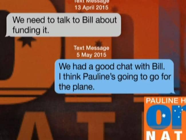 "Text messages about ""Bill"" funding the plane. Picture: Supplied"