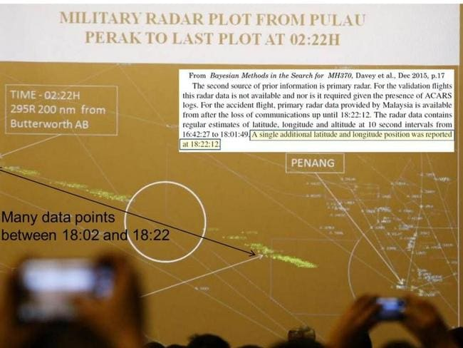 The military radar data shown to MH370 next of kin (pictured above) is vastly different from the data provided by Malaysia and used in a recent report by Australia's Defence Science and Technology Group