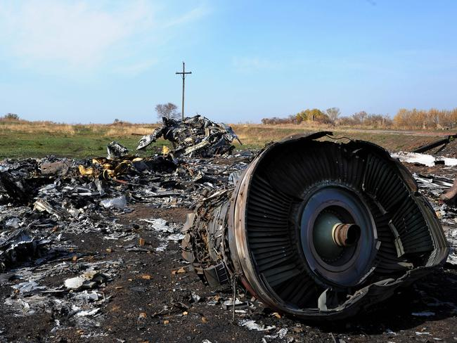 The wreckage of Malaysia Airlines flight MH17. Thirty-eight Australians were among those killed after the plane was shot down over the Ukraine in 2014. Picture: AFP/Dominique Faget