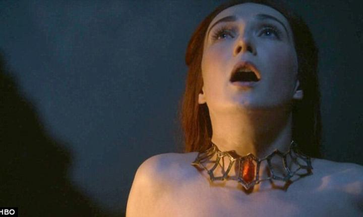 Melisandre, the red queen, gives birth to Satan himself